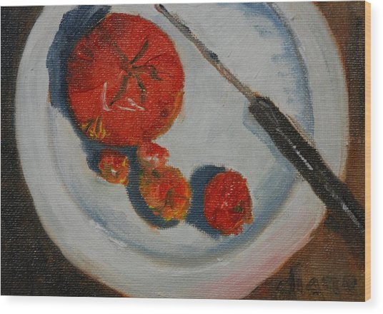 Last Of The Tomatos Wood Print by Diane Fiore