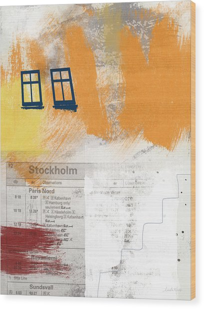 Last Train To Stockholm- Art By Linda Woods Wood Print