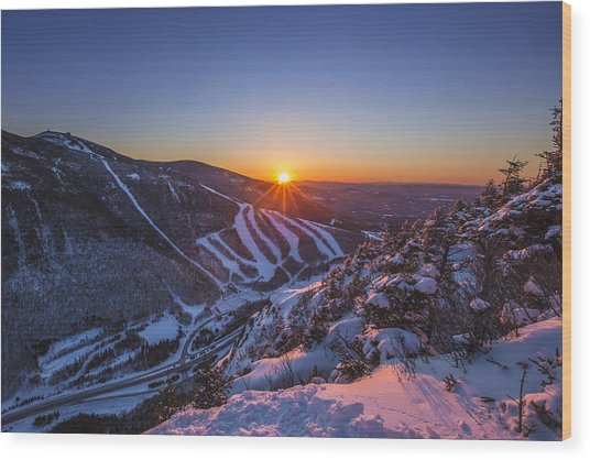 Last Winter Sunset Over Cannon Mountain Wood Print