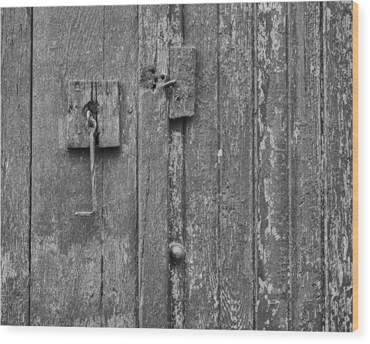 Latch On Garage Door Wood Print