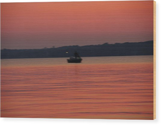Late Afternoon At The Lake. Wood Print