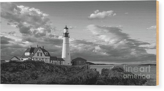 Late Afternoon Clouds, Portland Head Light  -98461 Wood Print