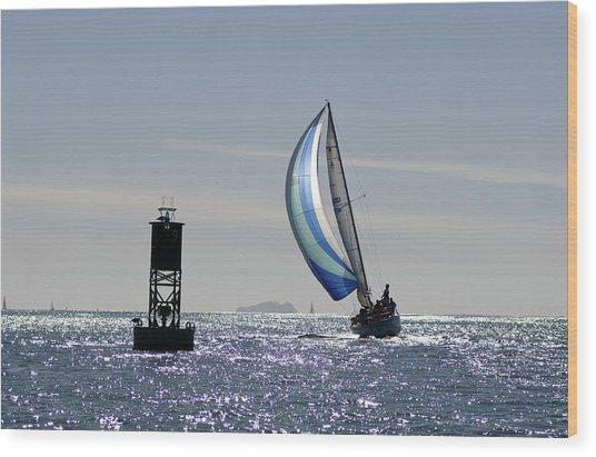 Late Afternoon Sail Wood Print