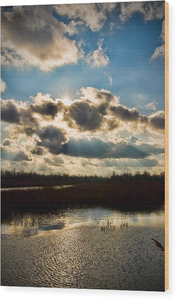 Late Evening By The River Wood Print by Michel Filion