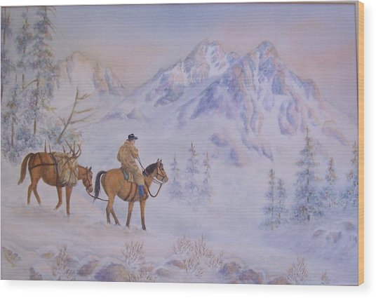 Late Hunt - In The Sawtooth Mountains Wood Print by Cherry Woodbury