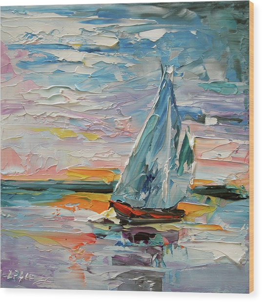 Late Night Sail Wood Print