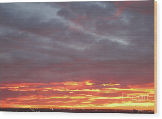Late Prairie Sunrise Wood Print
