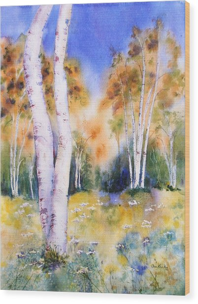 Late Summer Birches Wood Print
