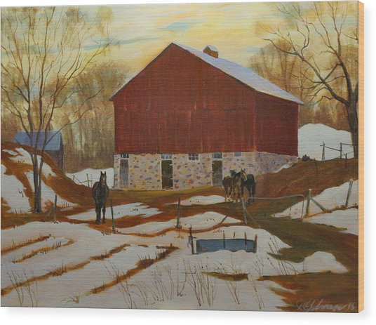 Late Winter At The Farm Wood Print