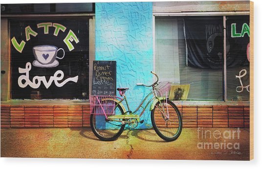 Latte Love Bicycle Wood Print