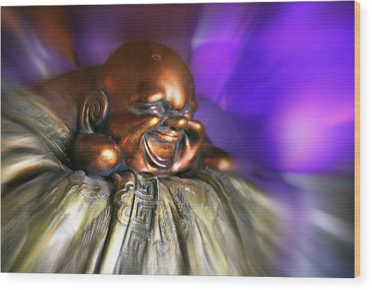 Laughing Buddha Violet Purple Flame Wood Print