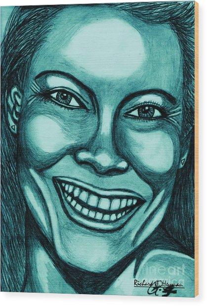 Laughing Girl In Blue 2 Wood Print by Richard Heyman