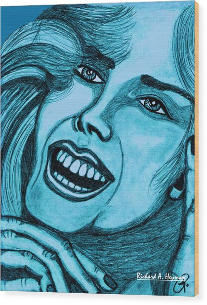Laughing Girl In Blue Wood Print by Richard Heyman