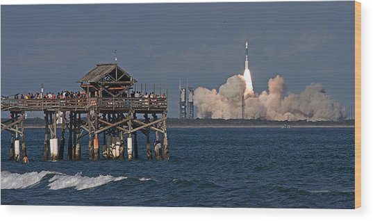 Launch Beyond The Pier Wood Print