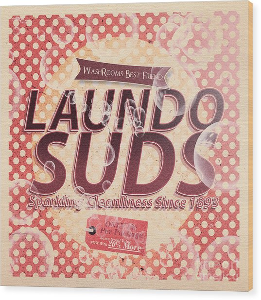 Laundo Soap Suds Advertising Wood Print