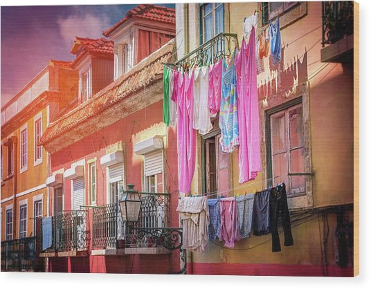 Laundry Day In Lisbon Portugal  Wood Print