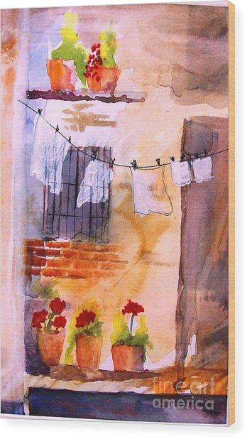 Laundry Day Wood Print by Sandi Stonebraker