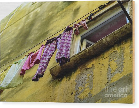 Laundry Hanging In Rovinj, Croatia Wood Print