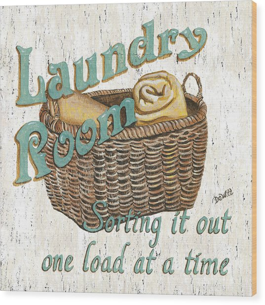 Laundry Room Sorting It Out Wood Print