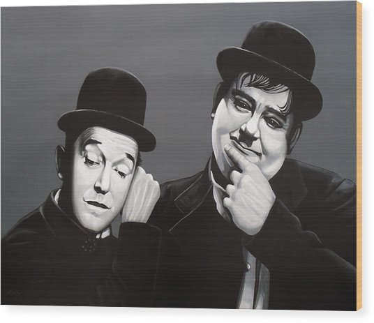 Laurel And Hardy Wood Print