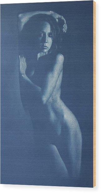 Lauren In Blue Wood Print by Alan Stevens