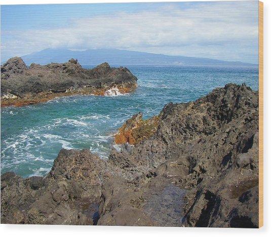 Lava Coastline - West Maui Wood Print