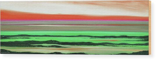 Lava Rock Abstract Panoramic Sunset In Red And Green Wood Print