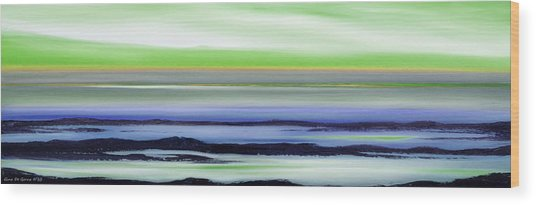 Lava Rock Panoramic Sunset In Green And Blue Wood Print