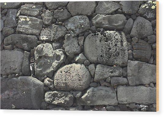 Lava Rock Wall 1 Dark Wood Print