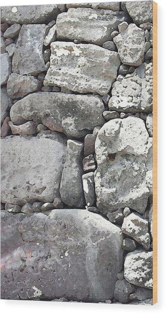 Lava Rock Wall 1 Triptych L Wood Print