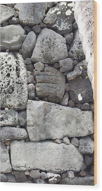 Lava Rock Wall 1 Triptych R Wood Print