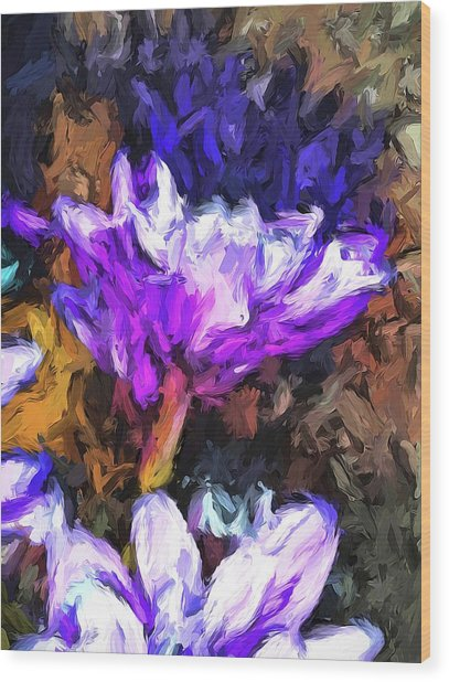 Lavender And White Flower With Reflection Wood Print