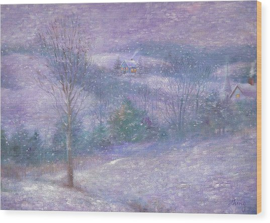 Lavender Impressionist Snowscape Wood Print