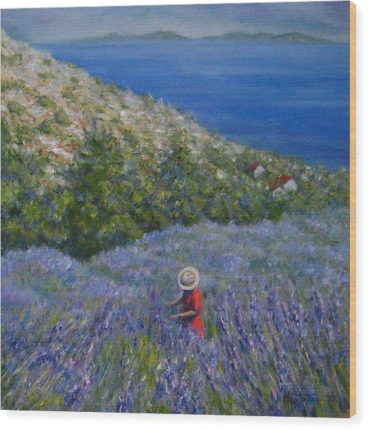 Lavender In Full  Bloom Wood Print by Mirjana Gotovac