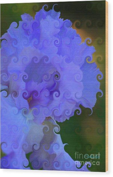 Lavender Curlicue Iris  Wood Print
