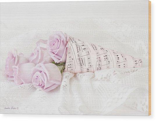 Lavender Roses And Music Wood Print