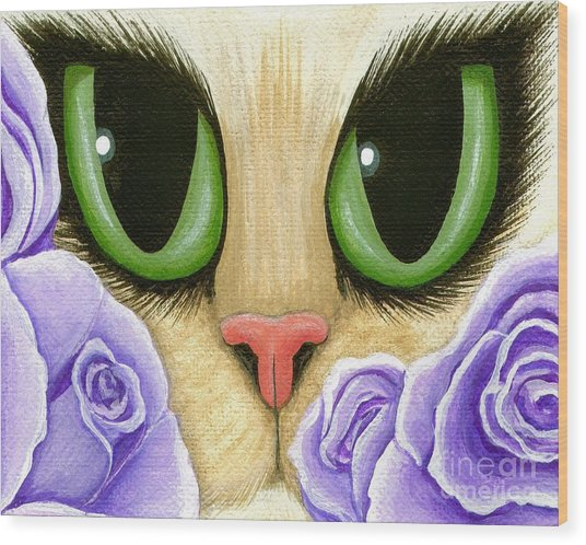 Lavender Roses Cat - Green Eyes Wood Print