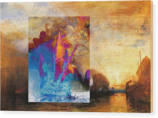 Wood Print featuring the digital art Layered 6 Turner by David Bridburg