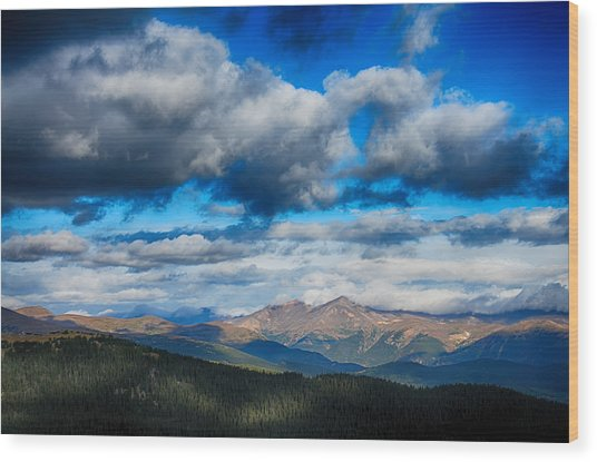 Layers Of Clouds On Mount Evans Wood Print