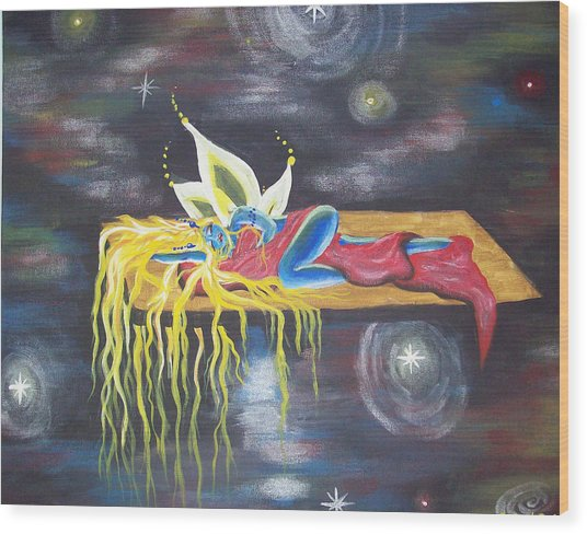 Laying  In Space Wood Print by Hollie Leffel