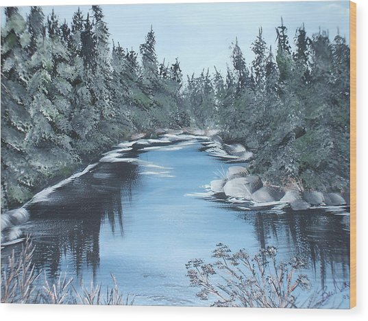 Lazy River Wood Print by Bev  Neely