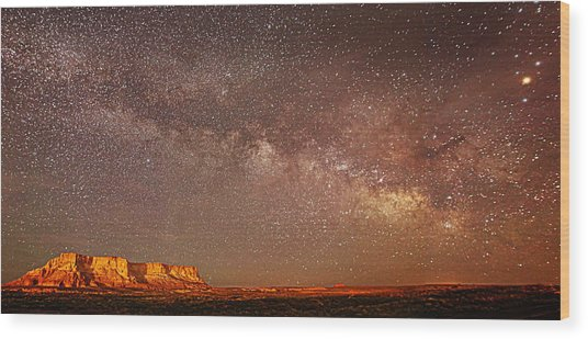 Lchee Rock Milky Way Panorama Wood Print