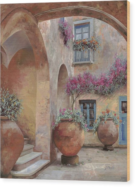 Le Arcate In Cortile Wood Print