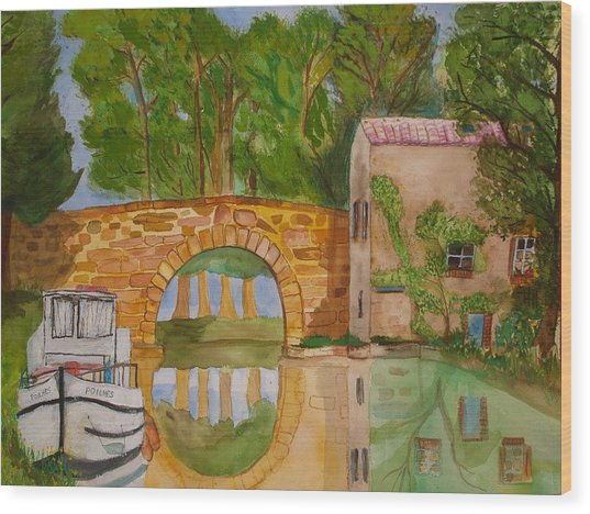 Le Canal Du Midi Wood Print by Aline Kala