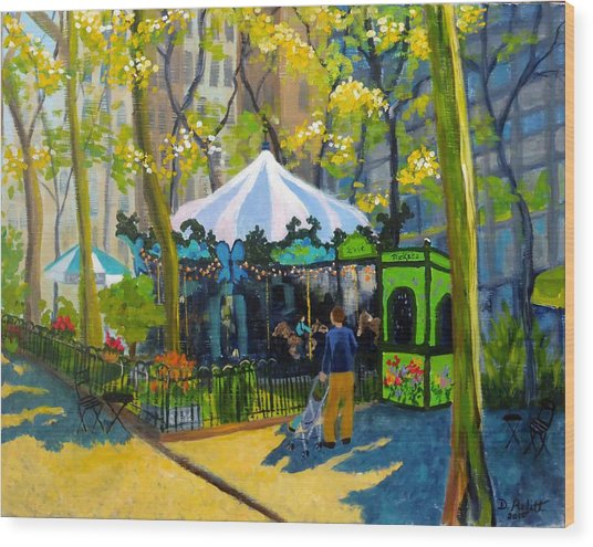 Le Carrousel In Bryant Park Wood Print