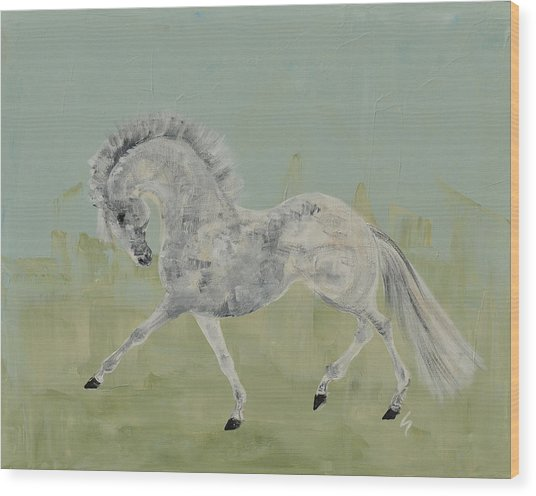 Le Gris Cheval Wood Print by Liz Pizzo