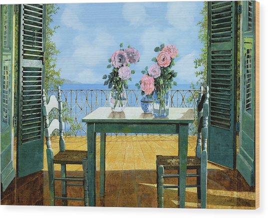 Le Rose E Il Balcone Wood Print