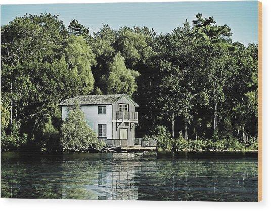 Leacock Boathouse Wood Print