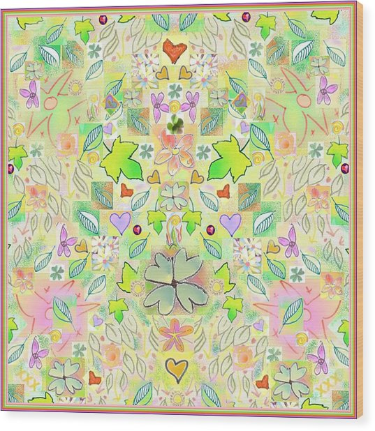 Leaf And Flower And Heart Pattern  Wood Print