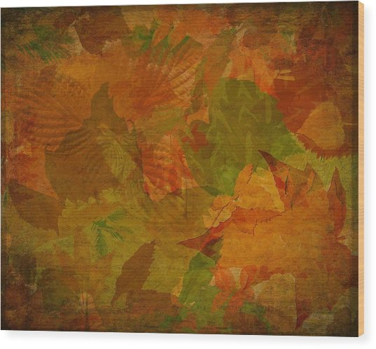 Leaf Texture And Background Wood Print